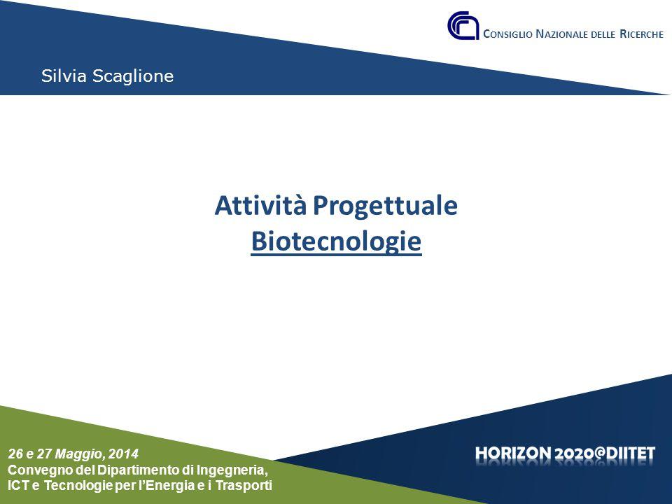 Conferenza del Dipartimento DIITET 26 e 27 maggio 2014 Silvia Scaglione Attività Progettuale Biotecnologie C ONSIGLIO N AZIONALE DELLE R ICERCHE 26 e