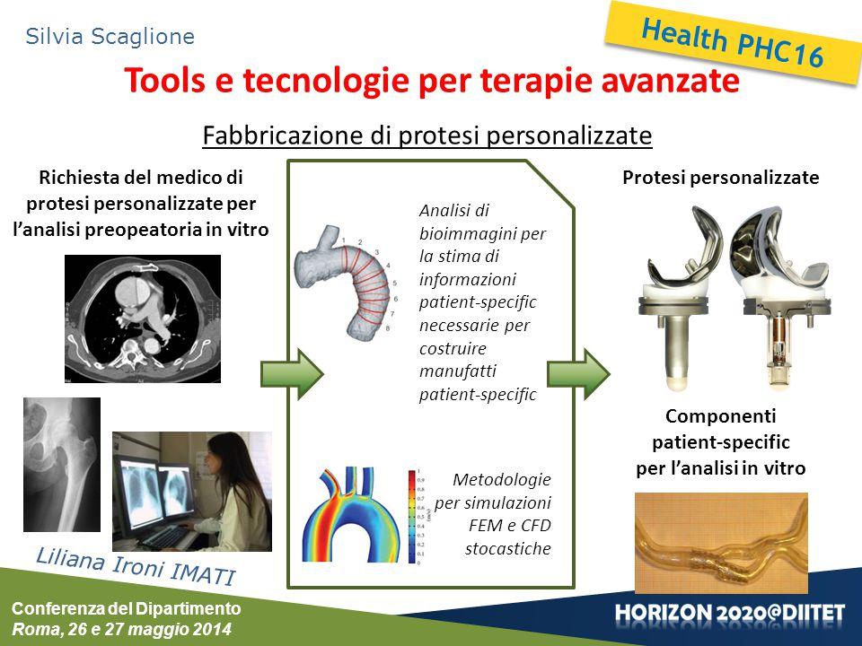 Conferenza del Dipartimento Roma, 26 e 27 maggio 2014 Silvia Scaglione Tools e tecnologie per terapie avanzate Liliana Ironi IMATI Fabbricazione di pr