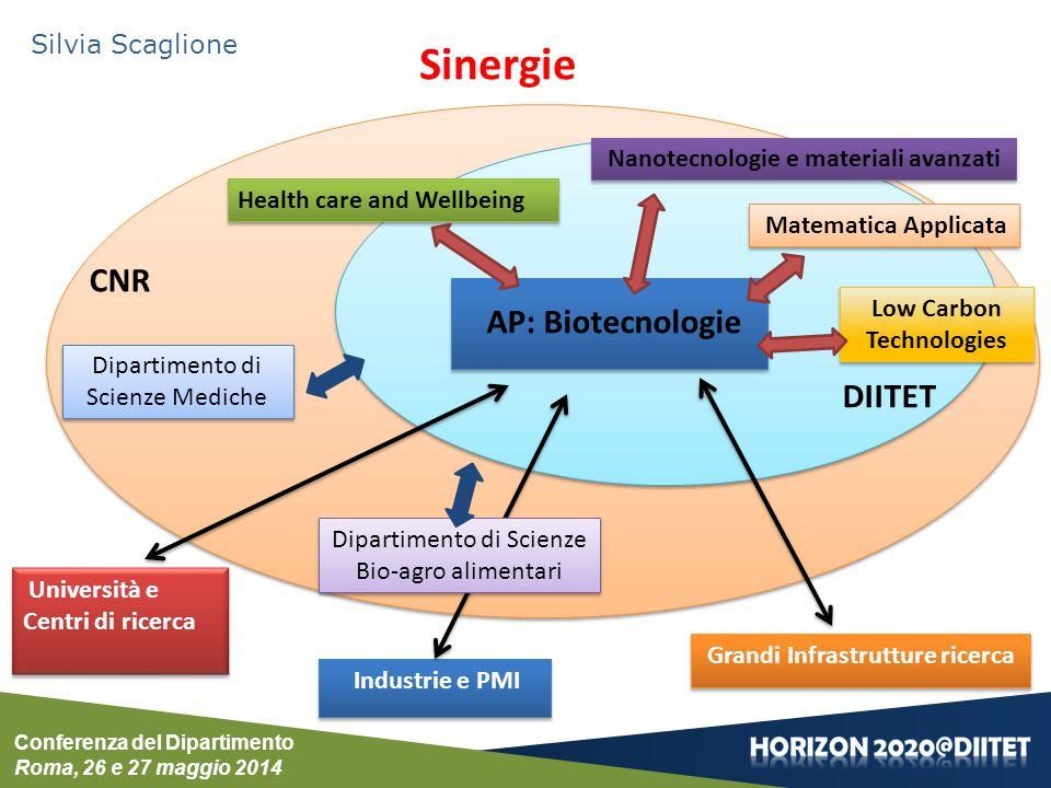Conferenza del Dipartimento Roma, 26 e 27 maggio 2014 Silvia Scaglione Sinergie Health care and Wellbeing AP: Biotecnologie Nanotecnologie e materiali