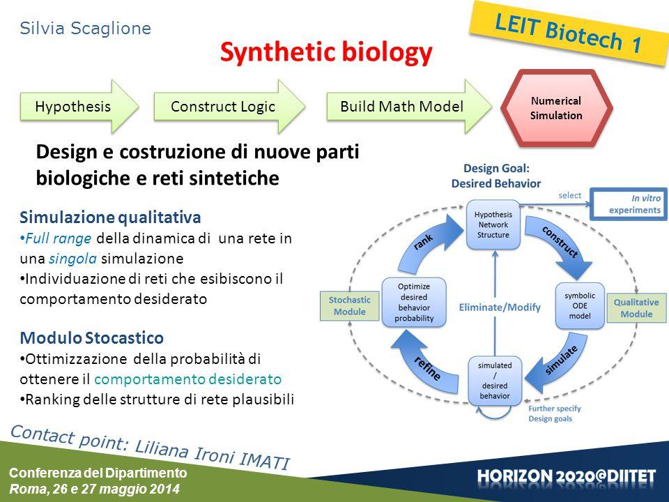 Conferenza del Dipartimento Roma, 26 e 27 maggio 2014 Silvia Scaglione Synthetic biology Design e costruzione di nuove parti biologiche e reti sinteti