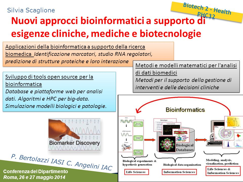Conferenza del Dipartimento Roma, 26 e 27 maggio 2014 Silvia Scaglione Processi biotecnologici industriali M.