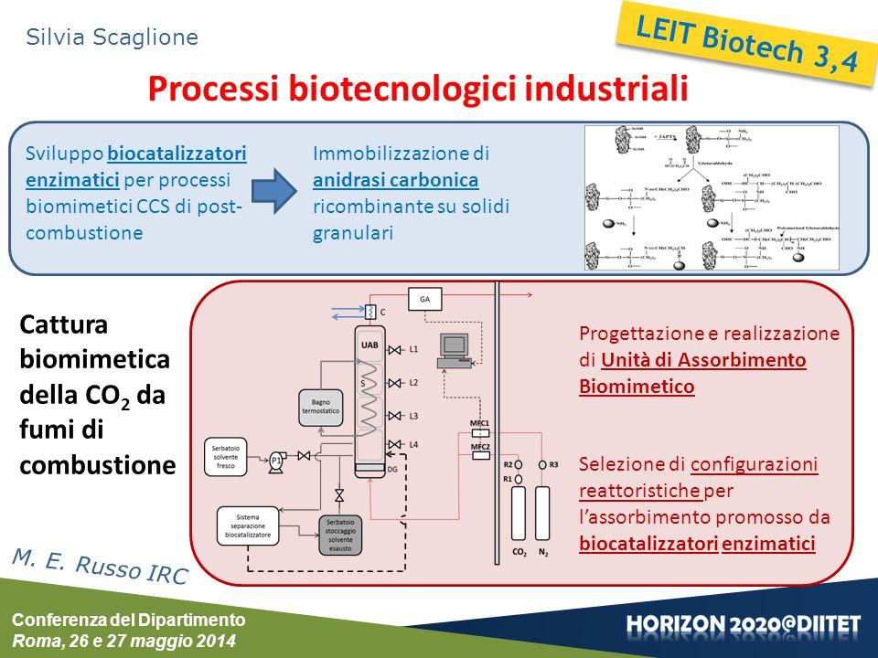 Conferenza del Dipartimento Roma, 26 e 27 maggio 2014 Silvia Scaglione Processi biotecnologici industriali M. E. Russo IRC Cattura biomimetica della C