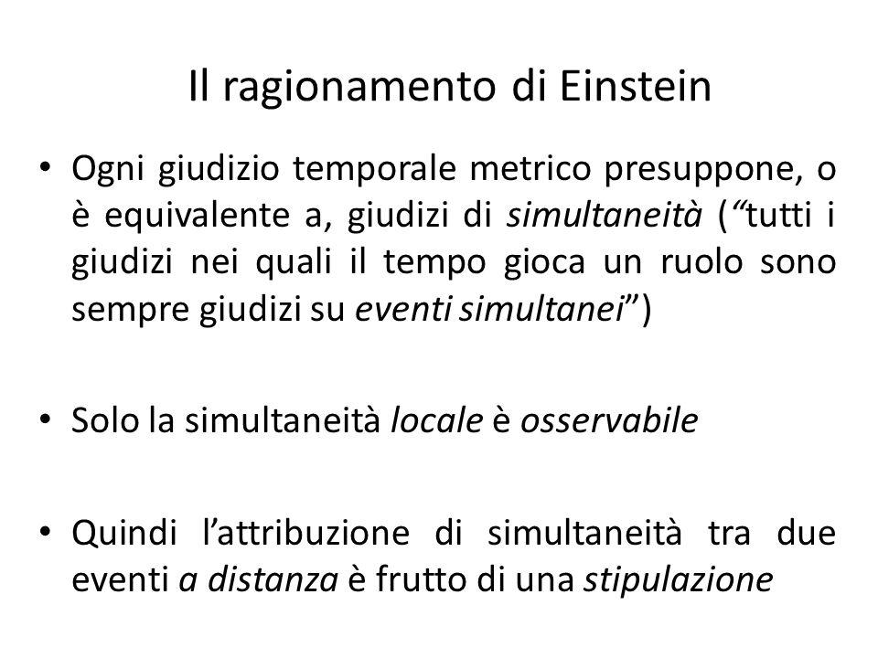 """Il ragionamento di Einstein Ogni giudizio temporale metrico presuppone, o è equivalente a, giudizi di simultaneità (""""tutti i giudizi nei quali il temp"""