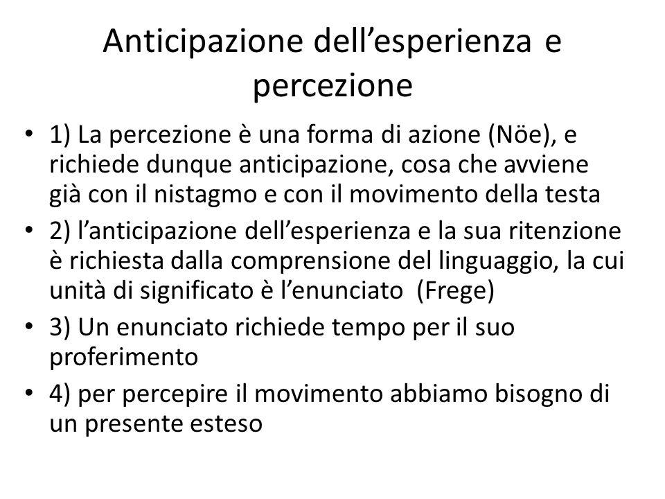 Anticipazione dell'esperienza e percezione 1) La percezione è una forma di azione (Nöe), e richiede dunque anticipazione, cosa che avviene già con il