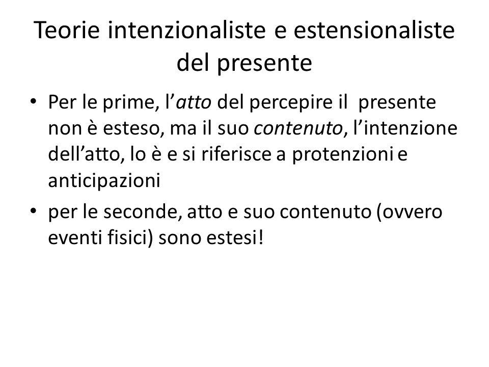 Teorie intenzionaliste e estensionaliste del presente Per le prime, l'atto del percepire il presente non è esteso, ma il suo contenuto, l'intenzione d