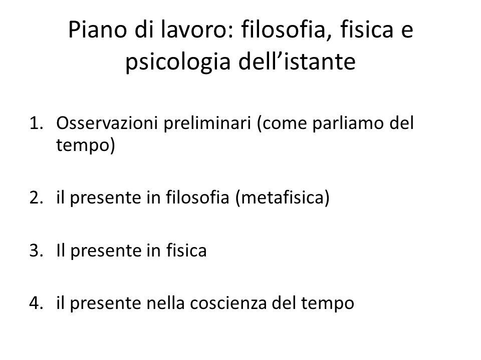 Piano di lavoro: filosofia, fisica e psicologia dell'istante 1.Osservazioni preliminari (come parliamo del tempo) 2.il presente in filosofia (metafisi