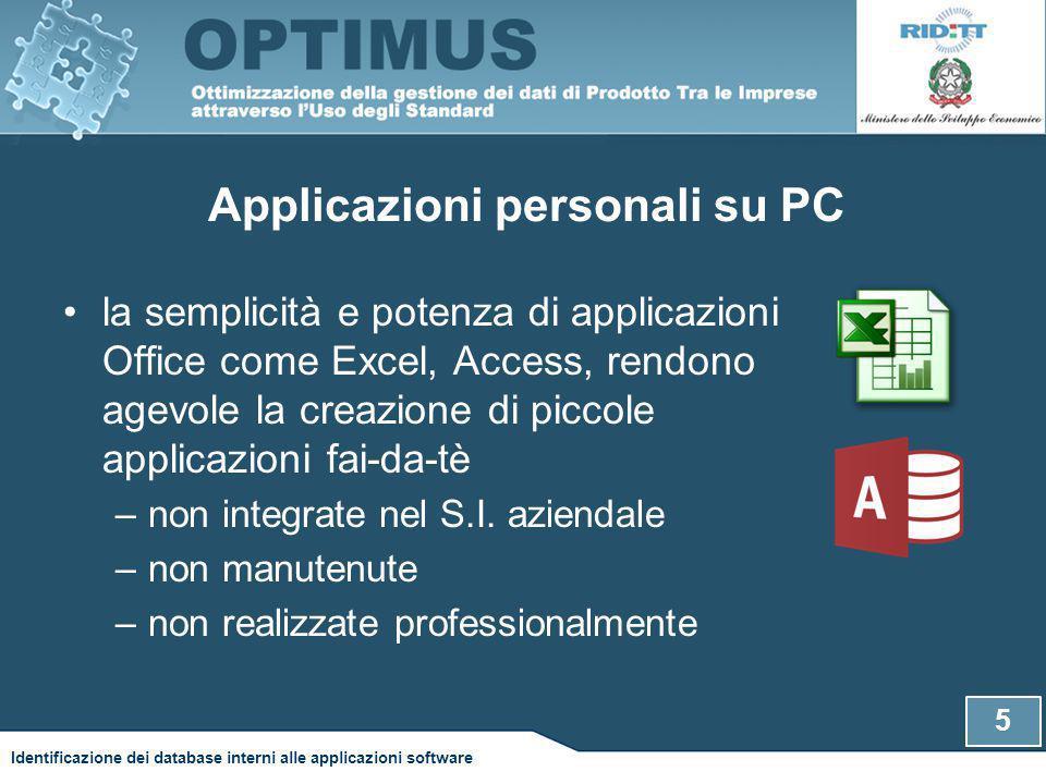 Applicazioni personali su PC la semplicità e potenza di applicazioni Office come Excel, Access, rendono agevole la creazione di piccole applicazioni fai-da-tè –non integrate nel S.I.