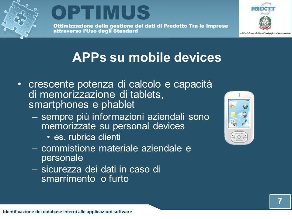 APPs su mobile devices crescente potenza di calcolo e capacità di memorizzazione di tablets, smartphones e phablet –sempre più informazioni aziendali sono memorizzate su personal devices es.