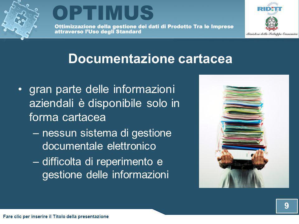 Documentazione cartacea 9 Fare clic per inserire il Titolo della presentazione gran parte delle informazioni aziendali è disponibile solo in forma cartacea –nessun sistema di gestione documentale elettronico –difficolta di reperimento e gestione delle informazioni