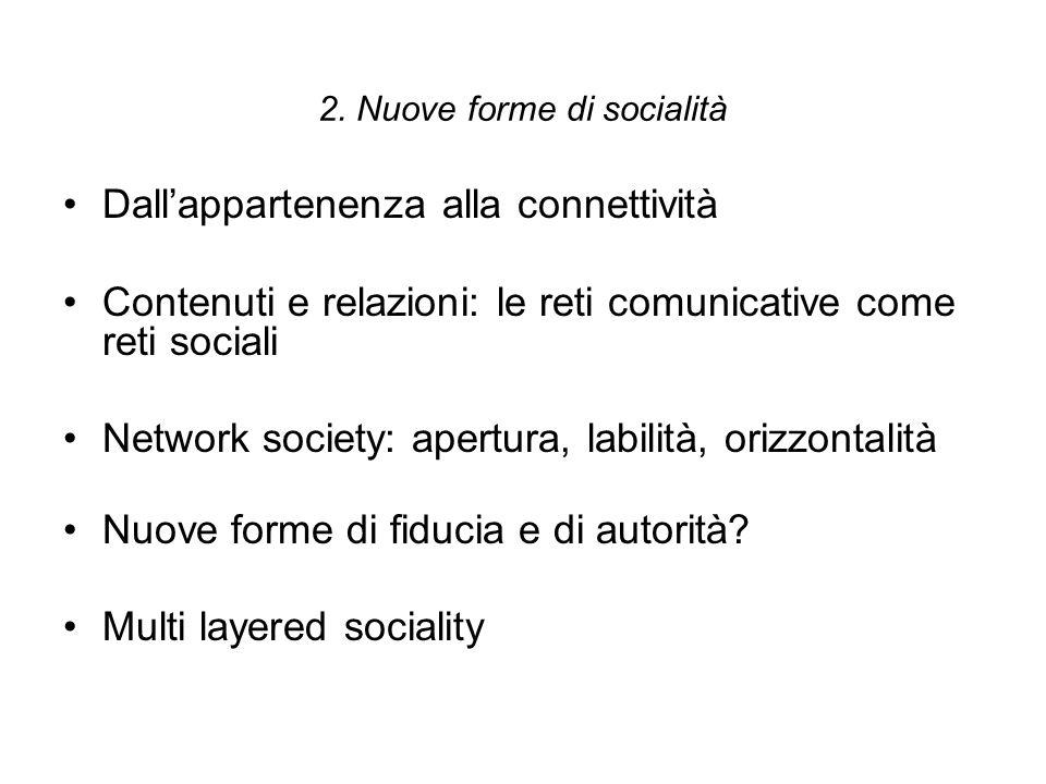 2. Nuove forme di socialità Dall'appartenenza alla connettività Contenuti e relazioni: le reti comunicative come reti sociali Network society: apertur
