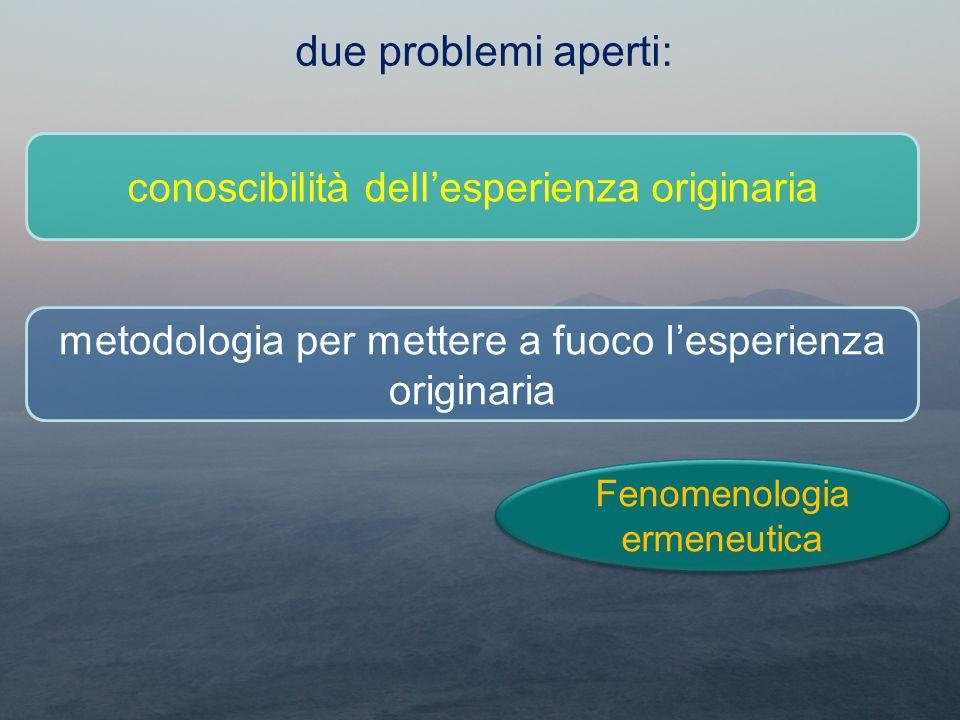 due problemi aperti: conoscibilità dell'esperienza originaria metodologia per mettere a fuoco l'esperienza originaria Fenomenologia ermeneutica Fenome