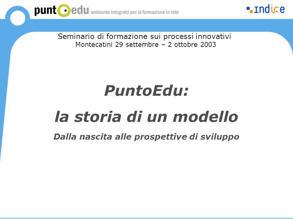 PuntoEdu: la storia di un modello Dalla nascita alle prospettive di sviluppo Seminario di formazione sui processi innovativi Montecatini 29 settembre