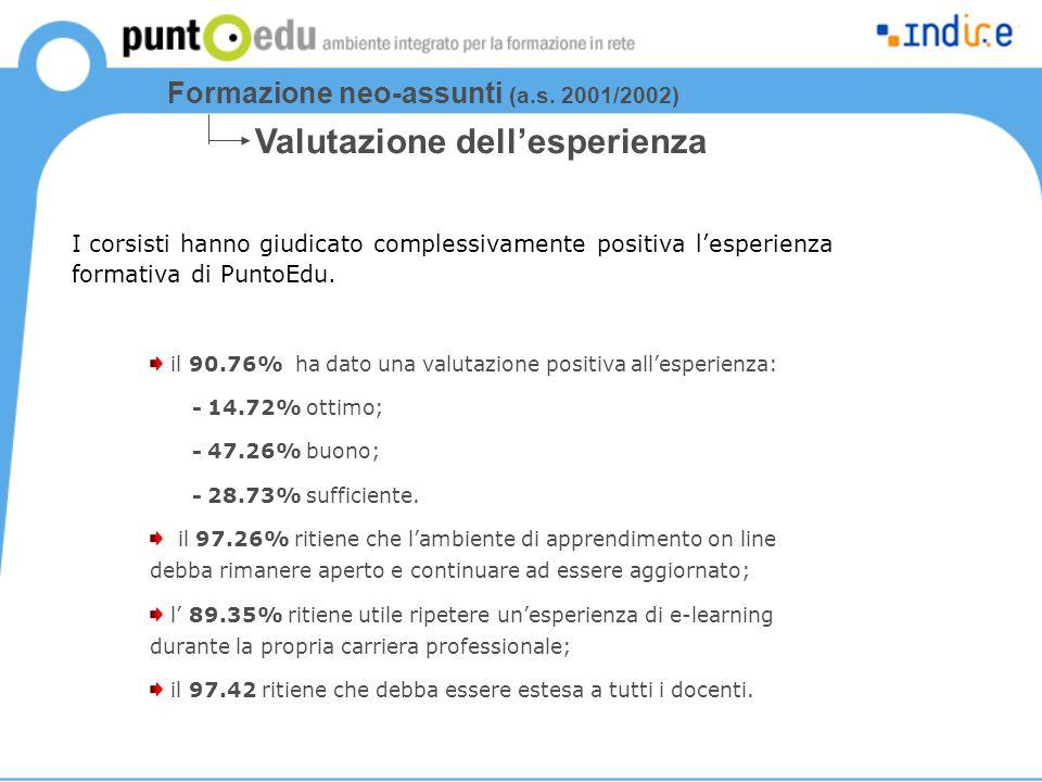 I corsisti hanno giudicato complessivamente positiva l'esperienza formativa di PuntoEdu. il 90.76% ha dato una valutazione positiva all'esperienza: -