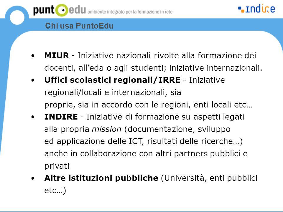 Chi usa PuntoEdu MIUR - Iniziative nazionali rivolte alla formazione dei docenti, all'eda o agli studenti; iniziative internazionali. Uffici scolastic