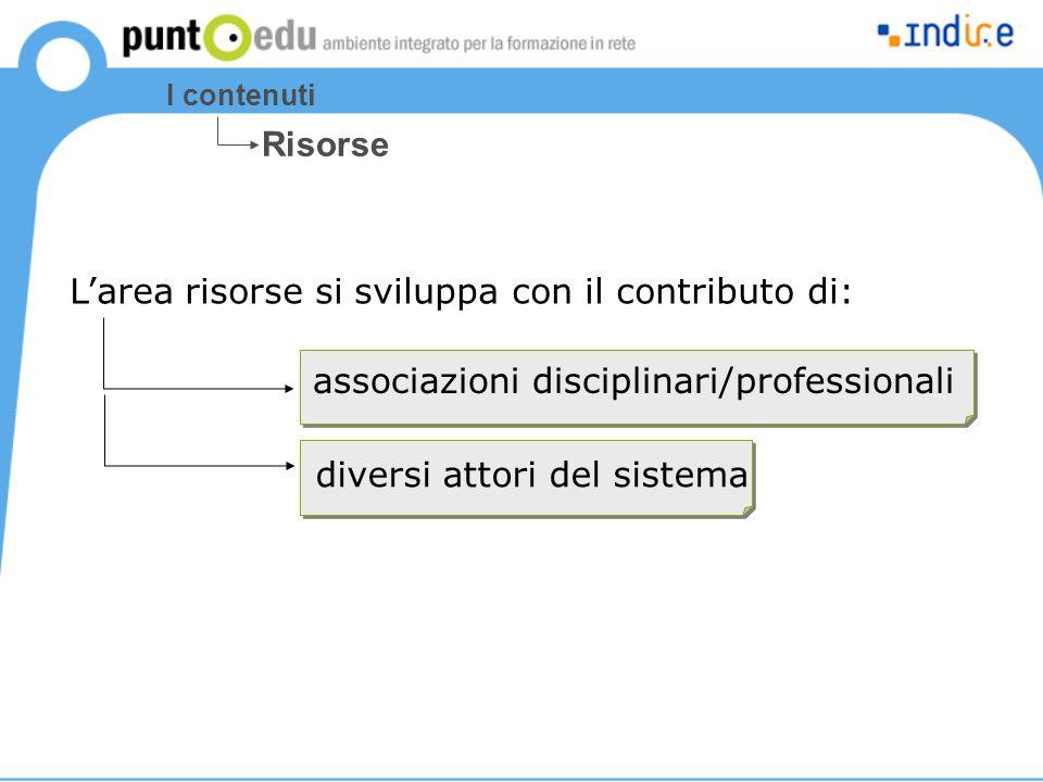 I contenuti Risorse associazioni disciplinari/professionali L'area risorse si sviluppa con il contributo di: diversi attori del sistema