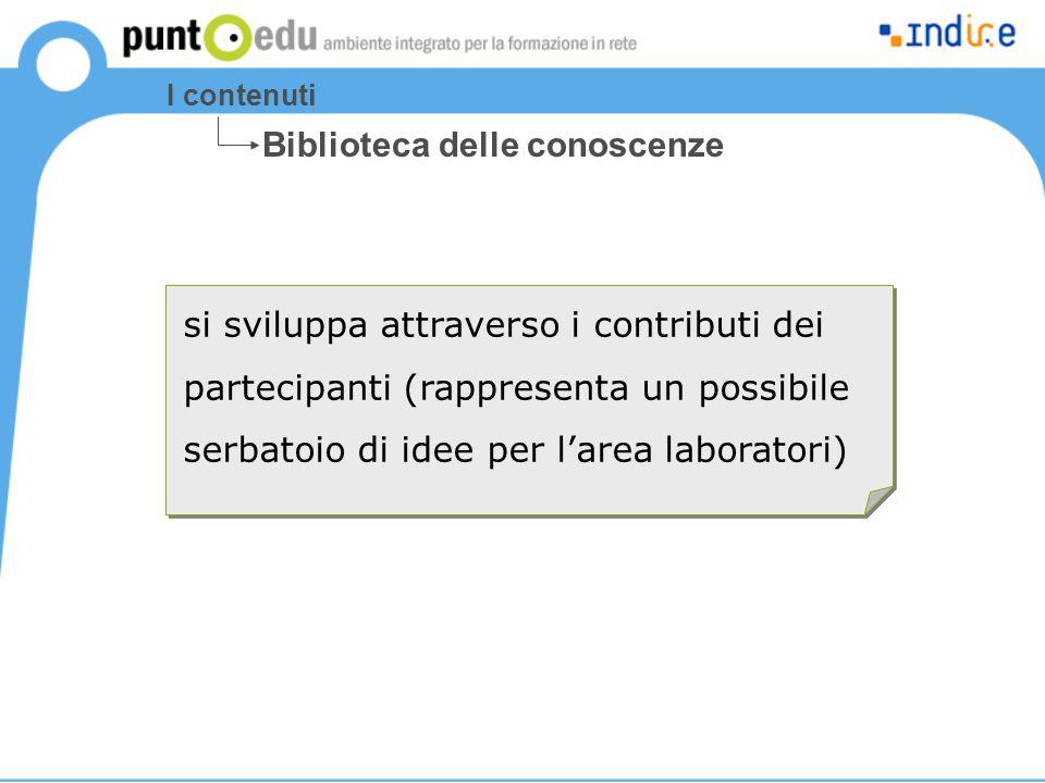 I contenuti si sviluppa attraverso i contributi dei partecipanti (rappresenta un possibile serbatoio di idee per l'area laboratori) Biblioteca delle c