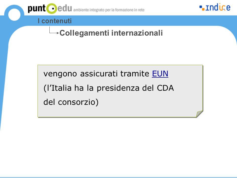 I contenuti vengono assicurati tramite EUNEUN (l'Italia ha la presidenza del CDA del consorzio) Collegamenti internazionali