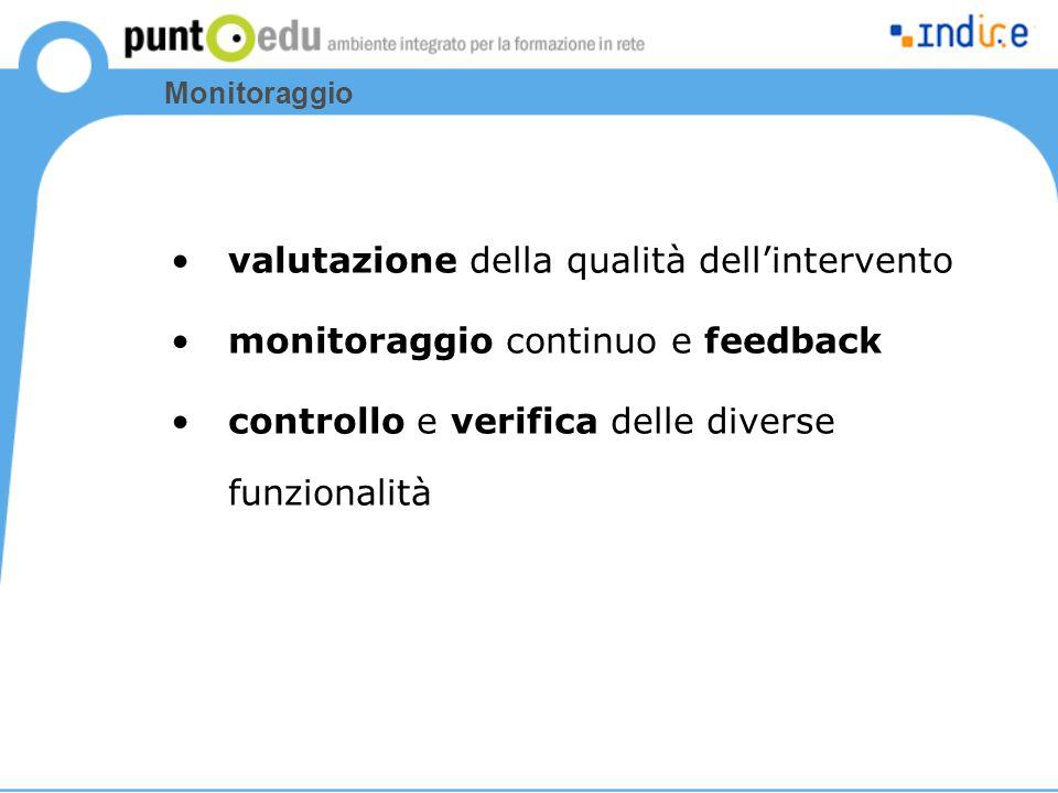 Monitoraggio valutazione della qualità dell'intervento monitoraggio continuo e feedback controllo e verifica delle diverse funzionalità