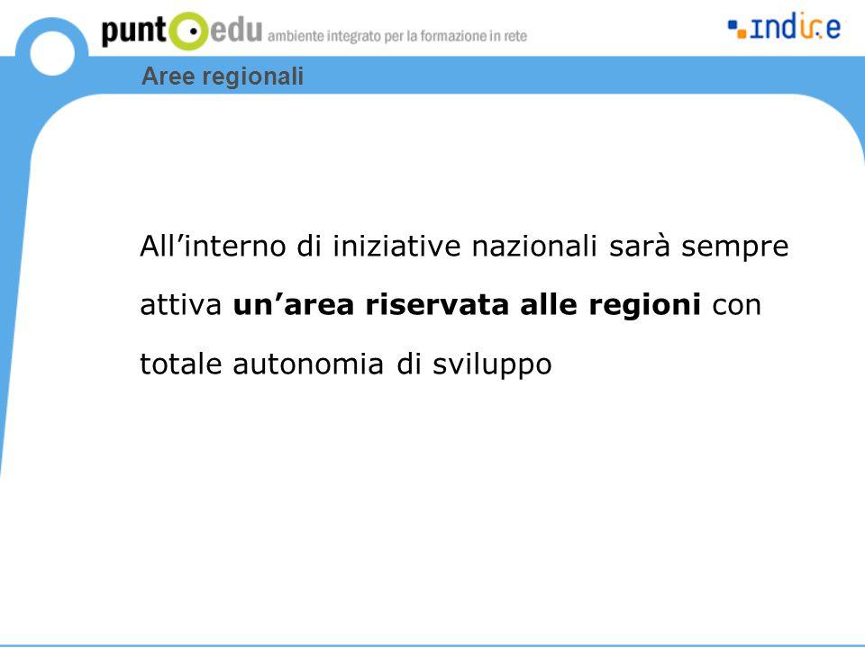 Aree regionali All'interno di iniziative nazionali sarà sempre attiva un'area riservata alle regioni con totale autonomia di sviluppo
