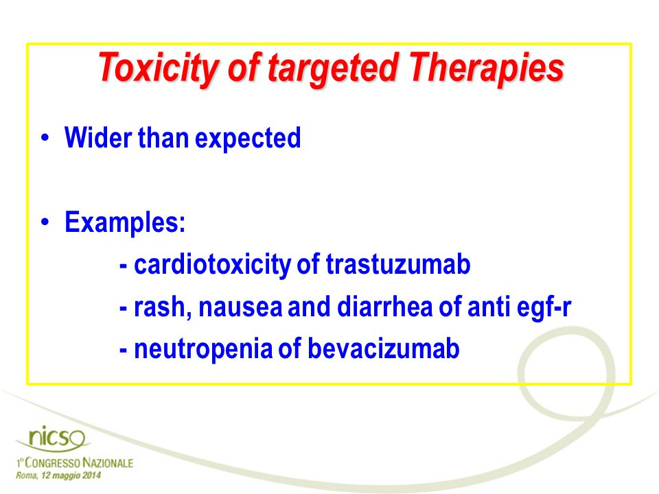 Toxicity of targeted Therapies Wider than expected Examples: - cardiotoxicity of trastuzumab - rash, nausea and diarrhea of anti egf-r - neutropenia o