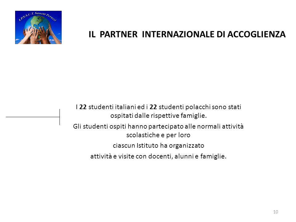10 IL PARTNER INTERNAZIONALE DI ACCOGLIENZA I 22 studenti italiani ed i 22 studenti polacchi sono stati ospitati dalle rispettive famiglie.