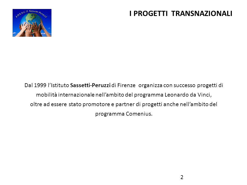 I PROGETTI TRANSNAZIONALI Dal 1999 l'Istituto Sassetti-Peruzzi di Firenze organizza con successo progetti di mobilità internazionale nell'ambito del programma Leonardo da Vinci, oltre ad essere stato promotore e partner di progetti anche nell'ambito del programma Comenius.