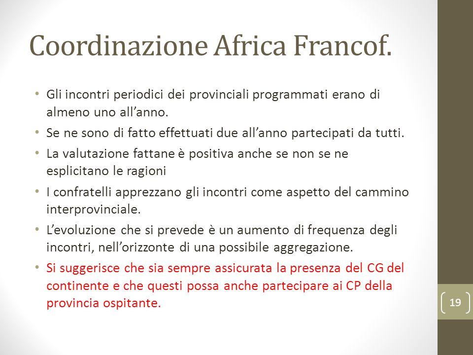 Coordinazione Africa Francof. Gli incontri periodici dei provinciali programmati erano di almeno uno all'anno. Se ne sono di fatto effettuati due all'