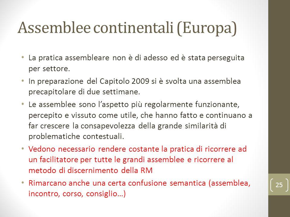 Assemblee continentali (Europa) La pratica assembleare non è di adesso ed è stata perseguita per settore. In preparazione del Capitolo 2009 si è svolt