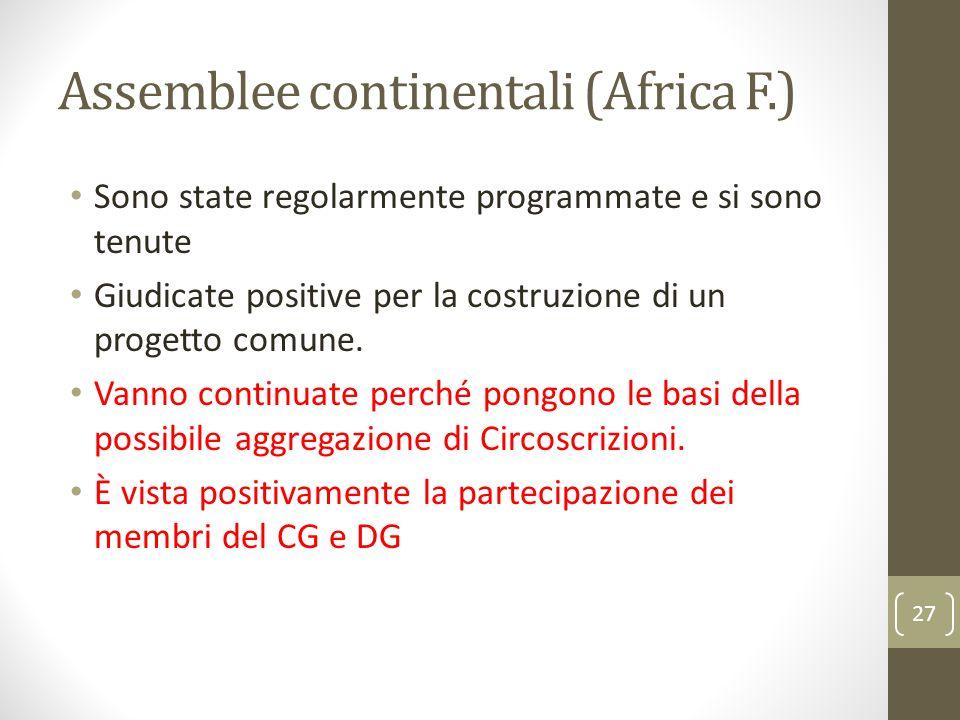 Assemblee continentali (Africa F.) Sono state regolarmente programmate e si sono tenute Giudicate positive per la costruzione di un progetto comune. V