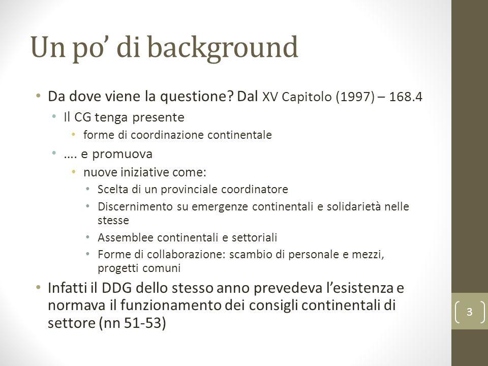 Un po' di background Da dove viene la questione? Dal XV Capitolo (1997) – 168.4 Il CG tenga presente forme di coordinazione continentale …. e promuova