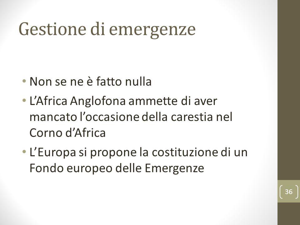 Gestione di emergenze Non se ne è fatto nulla L'Africa Anglofona ammette di aver mancato l'occasione della carestia nel Corno d'Africa L'Europa si pro