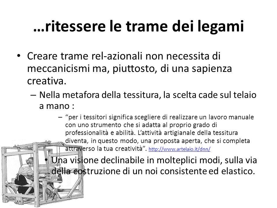…ritessere le trame dei legami Creare trame rel-azionali non necessita di meccanicismi ma, piuttosto, di una sapienza creativa. – Nella metafora della
