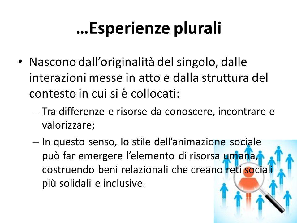 …Esperienze plurali Nascono dall'originalità del singolo, dalle interazioni messe in atto e dalla struttura del contesto in cui si è collocati: – Tra