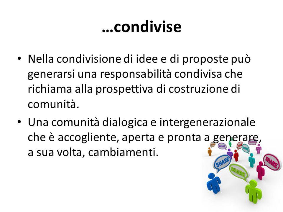 …condivise Nella condivisione di idee e di proposte può generarsi una responsabilità condivisa che richiama alla prospettiva di costruzione di comunità.