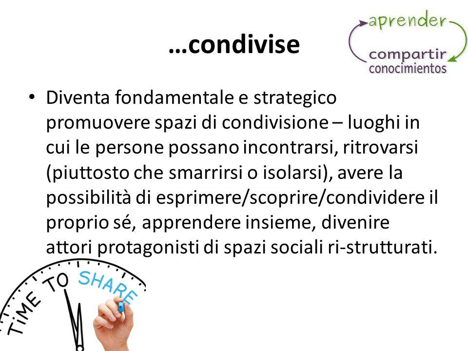 …condivise Diventa fondamentale e strategico promuovere spazi di condivisione – luoghi in cui le persone possano incontrarsi, ritrovarsi (piuttosto ch