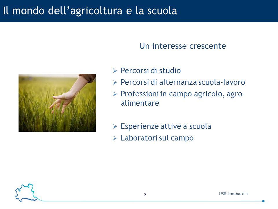 2 Un interesse crescente  Percorsi di studio  Percorsi di alternanza scuola-lavoro  Professioni in campo agricolo, agro- alimentare  Esperienze attive a scuola  Laboratori sul campo Il mondo dell'agricoltura e la scuola