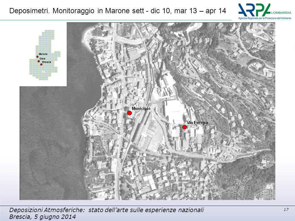 17 Deposizioni Atmosferiche: stato dell'arte sulle esperienze nazionali Brescia, 5 giugno 2014 Deposimetri. Monitoraggio in Marone sett - dic 10, mar