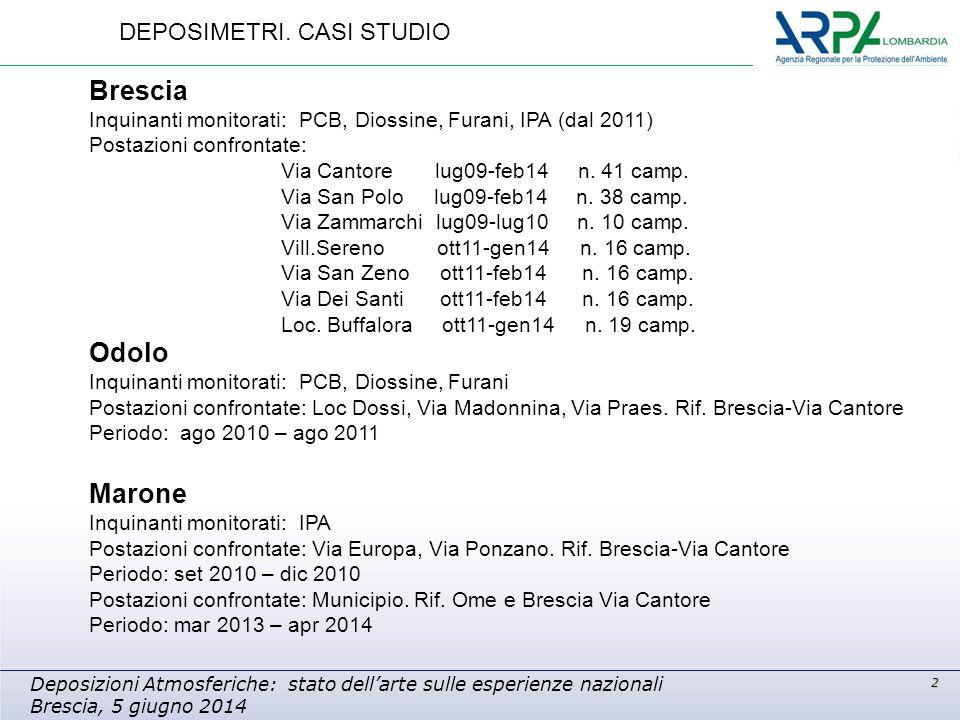 2 Deposizioni Atmosferiche: stato dell'arte sulle esperienze nazionali Brescia, 5 giugno 2014 Brescia Inquinanti monitorati: PCB, Diossine, Furani, IPA (dal 2011) Postazioni confrontate: Via Cantore lug09-feb14 n.