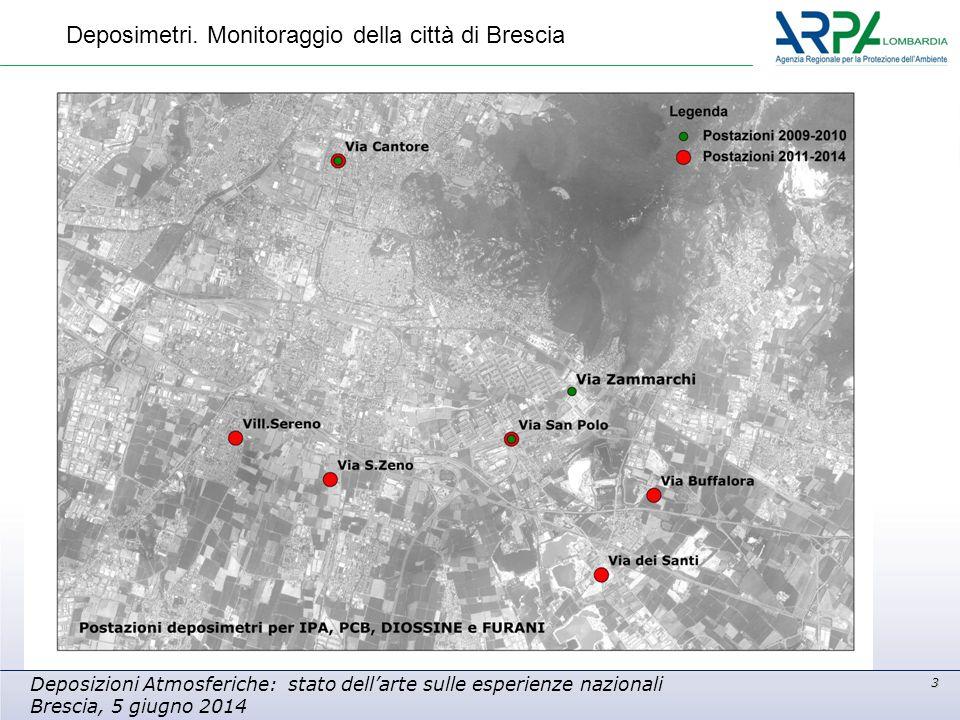 3 Deposizioni Atmosferiche: stato dell'arte sulle esperienze nazionali Brescia, 5 giugno 2014 Deposimetri. Monitoraggio della città di Brescia