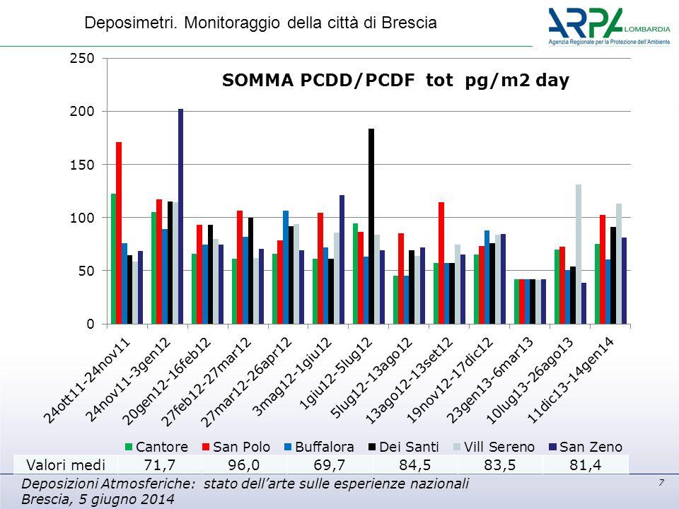 7 Deposizioni Atmosferiche: stato dell'arte sulle esperienze nazionali Brescia, 5 giugno 2014 Deposimetri. Monitoraggio della città di Brescia Valori