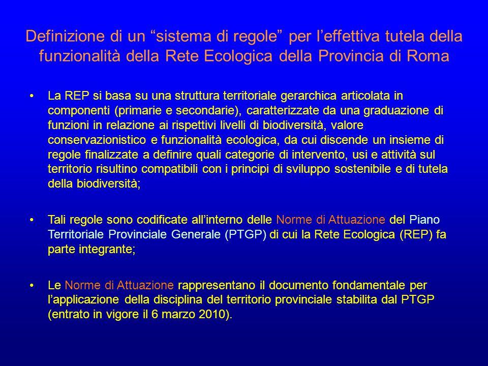 Definizione di un sistema di regole per l'effettiva tutela della funzionalità della Rete Ecologica della Provincia di Roma La REP si basa su una struttura territoriale gerarchica articolata in componenti (primarie e secondarie), caratterizzate da una graduazione di funzioni in relazione ai rispettivi livelli di biodiversità, valore conservazionistico e funzionalità ecologica, da cui discende un insieme di regole finalizzate a definire quali categorie di intervento, usi e attività sul territorio risultino compatibili con i principi di sviluppo sostenibile e di tutela della biodiversità; Tali regole sono codificate all'interno delle Norme di Attuazione del Piano Territoriale Provinciale Generale (PTGP) di cui la Rete Ecologica (REP) fa parte integrante; Le Norme di Attuazione rappresentano il documento fondamentale per l'applicazione della disciplina del territorio provinciale stabilita dal PTGP (entrato in vigore il 6 marzo 2010).