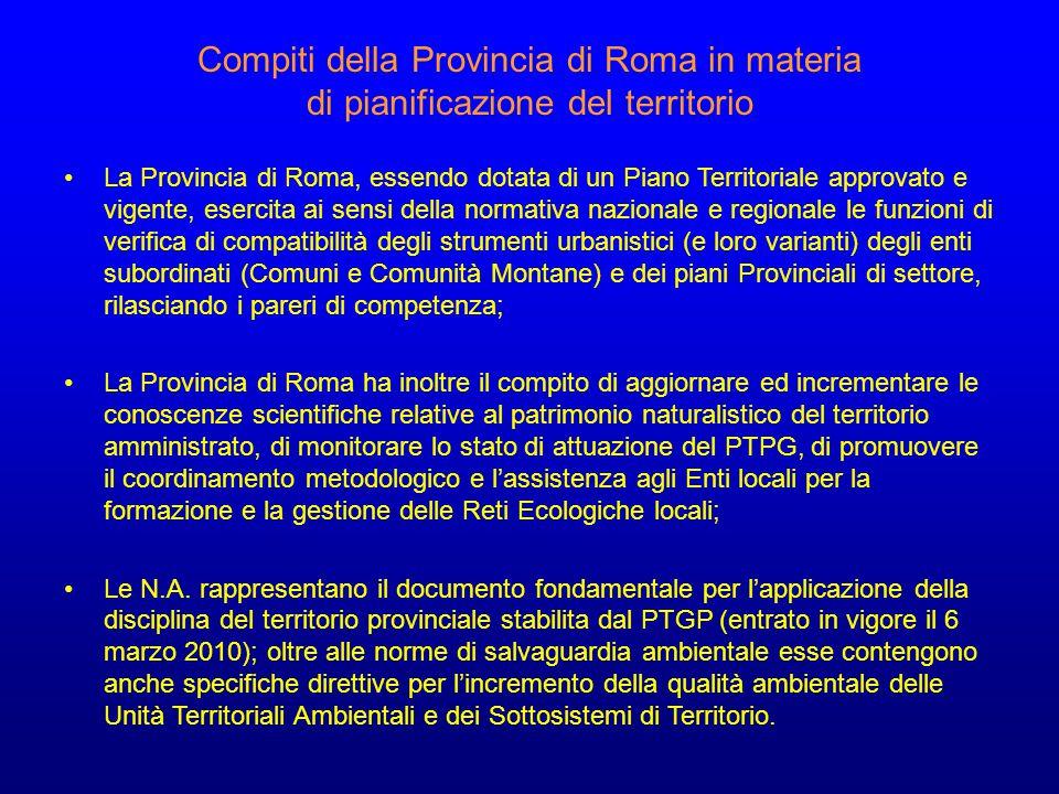 Compiti della Provincia di Roma in materia di pianificazione del territorio La Provincia di Roma, essendo dotata di un Piano Territoriale approvato e