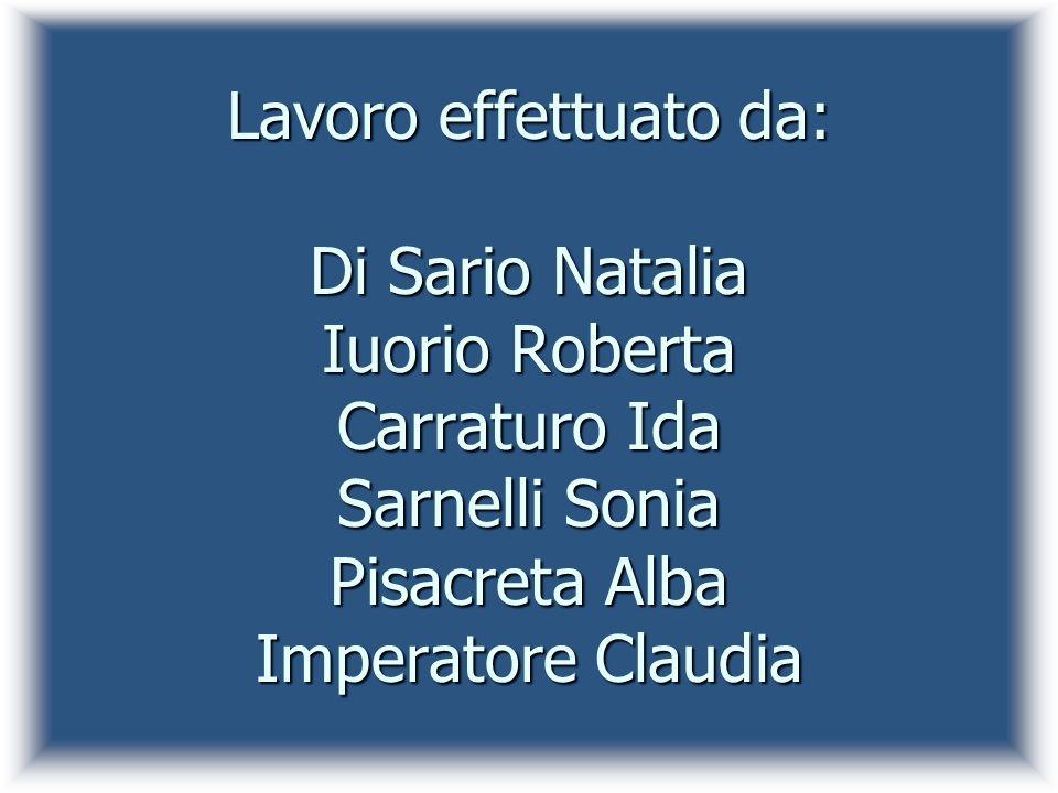 Lavoro effettuato da: Di Sario Natalia Iuorio Roberta Carraturo Ida Sarnelli Sonia Pisacreta Alba Imperatore Claudia