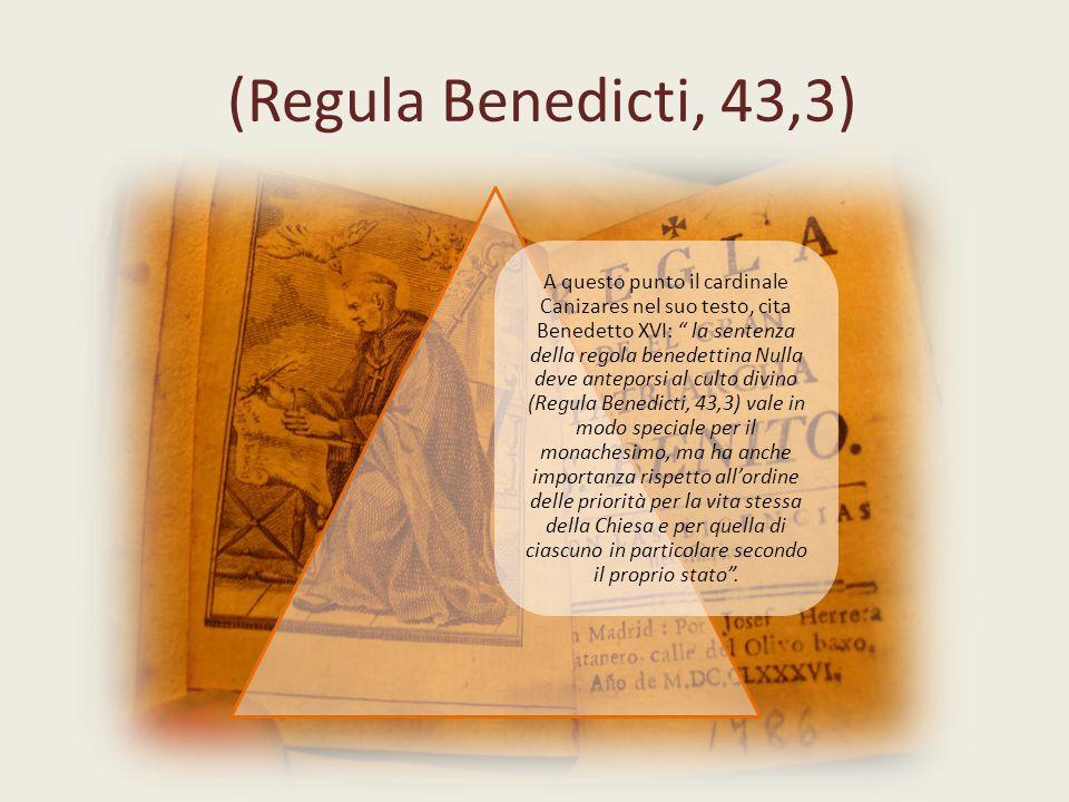 (Regula Benedicti, 43,3) A questo punto il cardinale Canizares nel suo testo, cita Benedetto XVI: la sentenza della regola benedettina Nulla deve anteporsi al culto divino (Regula Benedicti, 43,3) vale in modo speciale per il monachesimo, ma ha anche importanza rispetto all'ordine delle priorità per la vita stessa della Chiesa e per quella di ciascuno in particolare secondo il proprio stato .
