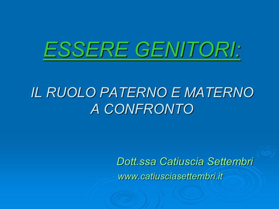 ESSERE GENITORI: IL RUOLO PATERNO E MATERNO A CONFRONTO Dott.ssa Catiuscia Settembri Dott.ssa Catiuscia Settembri www.catiusciasettembri.it www.catius