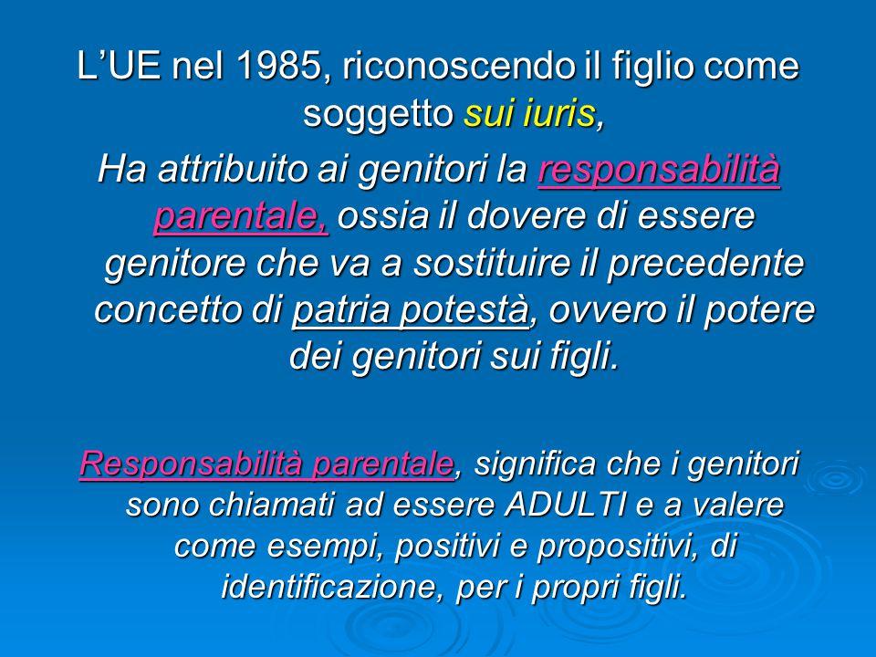 L'UE nel 1985, riconoscendo il figlio come soggetto sui iuris, Ha attribuito ai genitori la responsabilità parentale, ossia il dovere di essere genito