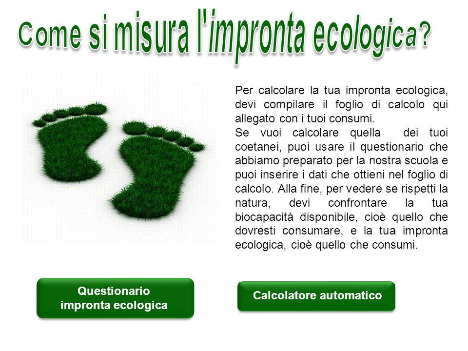 Questionario impronta ecologica Calcolatore automatico Per calcolare la tua impronta ecologica, devi compilare il foglio di calcolo qui allegato con i tuoi consumi.