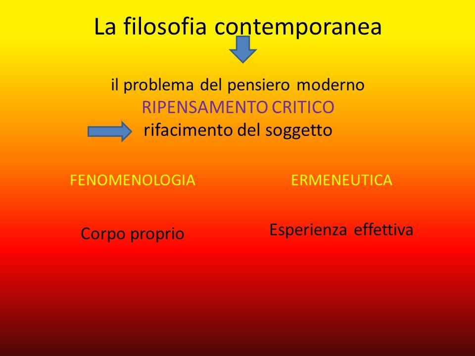 La filosofia contemporanea il problema del pensiero moderno RIPENSAMENTO CRITICO rifacimento del soggetto FENOMENOLOGIA Corpo proprio ERMENEUTICA Espe