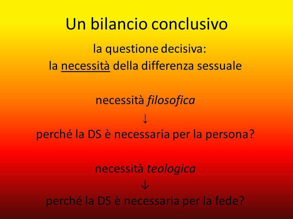 la questione decisiva: la necessità della differenza sessuale necessità filosofica ↓ perché la DS è necessaria per la persona? necessità teologica ↓ p