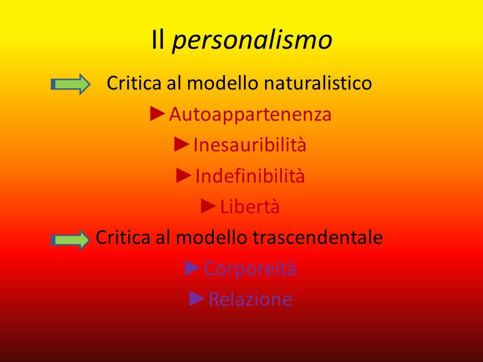 Critica al modello naturalistico ► Autoappartenenza ► Inesauribilità ► Indefinibilità ► Libertà Critica al modello trascendentale ► Corporeità ► Relaz